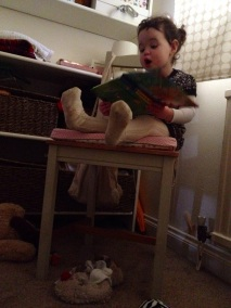 reading to me and Scarlet at nap time